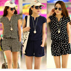 Fashion Women's Girl Casual Short Sleeve Pants Jumpsuit Romper Shorts M-XXL