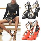 Roman Ankle Metal Strap Leather Womens Gladiator High Heels Sandals Pumps Shoes