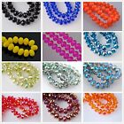 72pcs Faceted Glass Crystal Charms Rondelle Findings Loose Spacer Beads 60 Color