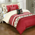 Chelsea Red 5-Piece Duvet Cover Set Embroidered 100% Cotton