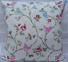 """Clarke and Clarke Bird Trail White cushion cover 16"""" or 18"""""""