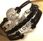 fashion black color multilayer leather weaves infinity charm jewelry bracelet