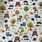Free Shipping by the yard Cute Owls printed 100% Cotton Plain Fabric 43.3""