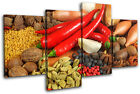 Spices Peppers Food Kitchen MULTI CANVAS WALL ART Picture Print VA