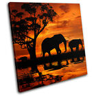 Elephant African Sunset Animals SINGLE CANVAS WALL ART Picture Print VA