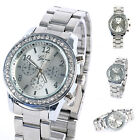 Geneva Bling Crystal Womens Watches Stainless Steel Quartz Wrist Watch Fashional