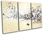 Musical  Floral Abstract TREBLE CANVAS WALL ART Picture Print VA