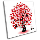 Heart Tree Love SINGLE CANVAS WALL ART Picture Print VA