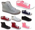 WOMENS LADIES GIRLS FLAT LACE UP HI TOP PLIMSOLLS PUMPS CANVAS TRAINERS SHOES UK