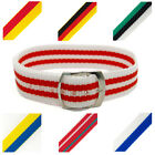 Traditional Nylon One-Piece Thread-Through Watch Strap Band 18mm Striped