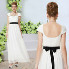 New Ladies White Maxi Wedding Bridesmaid Cocktail Party Evening Gown Dress 08098