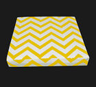 le05t Yellow on Beige Zig Zag Thick Cotton Canvas 3D Box Sofa Seat Cushion Cover