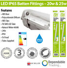 LED T8 IP65 Non Corrosive Single & Twin 4ft 5ft Batten Fitting with 4000k tubes