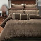 8PC- Janet Jacquard Comforter Set -100% Luxury Brown By Royal Hotel Collection