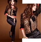 Sexy Korean Womens Sheer Long Sleeve Tops Leopard Print Tee Shirt Chiffon Blouse