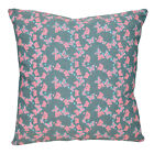 de02a Gray Pink Aqua Butterfly Blue Jean Denim Cushion Cover/Pillow Case Size