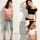 Hot  Sexy lady Casual  Off-Shoulder Skintight Stretchy T-shirt Cropped Top Tee