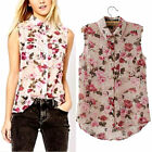 Newly Sleeveless Vest Flower Floral Chiffon Casual T-Shirt Blouse Tank Tops SML