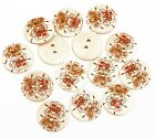 Hot 100pcs Flower Wood Painting Sewing Buttons 18mm 2 Holes U Choose #8