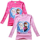 Frozen Elsa & Anna Princess Kids Girls Funny  Long Sleeve Tops T-Shirts Age 2-8Y