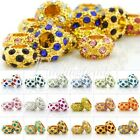 5pcs Crystal Rhinestone Charm Beads F Bracelet Pave Rondelle Big Hole Wholesale