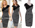 Plus Size S to 4XL Oblique Fine Striped Women Bodycon Pencil Summer Dress 760