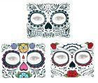 Day Of The Dead Face Skull Temporary Tattoos 3 Styles Black, Rose's & Floral (a)