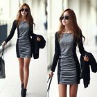 New Fashion Women Patchwork Pleated Long Sleeves Mini Sexy One-piece Dress