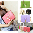 Women Candy Neon Color Cabas PU Leather Mini Crossbody Shoulder Chain Bag New