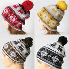 Snowflakes Rudolph Reindeer Knitted Pom pom Beanie Bobble Fall Winter Hat Adult