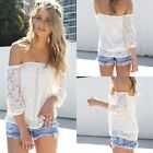 New Sexy Lace Off-shoulder Strapless Tops Slim Casual T-Shirt Blouse 3/4 Sleeve