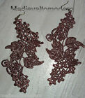 NEW~Hand Made LONG Your Color Lacy Light Venise Lace Angled Art Earrings 5""