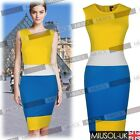 Womens New Contrast Colors Striped Sasual Bodycon Pencil Tea Dresses Size 810246