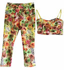 WOMENS BODYCON DRESS CROP TOP TROUSERS TROPICAL FLORAL CASUAL TWO PIECE OUTFIT