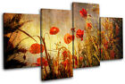 Poppies Flowers Floral MULTI CANVAS WALL ART Picture Print VA