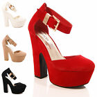 LADIES WOMENS PLATFORM BLOCK HEEL HIGH WEDGE SANDALS CLOSED TOE PARTY SHOES SIZE