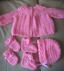 HAND KNITTED MATINEE COAT, BONNET, BOOTIES, AND MITTEN 2sizes