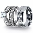 New  Mens Tungsten & Womens Stainless Steel 3.15Ct Engagement Wedding Ring Set