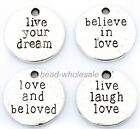 Hot Antique Silver Round Love Believe Dream Live Laugh Charms Pendants 20Pcs
