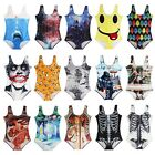 Vest Women Ladies Swimwear Print One-Piece Monokini Bikini Set Backless Swimsuit