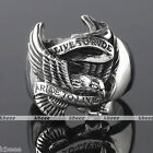 1x Mens Punk Biker Live To Ride Carved Eagle 316L Stainless Steel Band Ring Gift