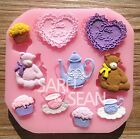 Tea Time silicone mold for fimo resin polymer clay fondant cake chocolate 0063G