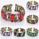 Chic Crystal Rhinestone Flower Marquise Beads Shape Resin Cuff Bracelet Bangle