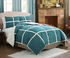 3 Piece Queen Microsude Sherpa Comforter Set Teal Green