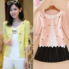 Korean Women's Sweet Mini Bowknot Cardigan Sweater Coat Outwear 4 Colors 35DI