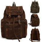 Retro Vintage Unisex Canvas Large Backpack Satchel Travel Hiking Bag School 35DI