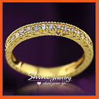 24K GOLD FILLED R296 TRILOGY 3CT SQUARE ENGAGEMENT WEDDING LAB DIAMOND RING GIFT