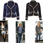 Women Ladies Military Nautical Long Sleeve Button Slim Blazer Jacket Coat Top