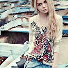 Retro Women Peacock print Long Sleeve Casual Round neck Tops Blouse T-shirt Tee