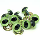 7.5mm - 16mm Plastic Push Fit Green Pearl Cats Eyes Teddy Bear Eyes with Washers